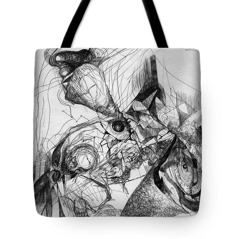 Fantasy Drawing Tote Bag featuring the drawing Fantasy Drawing 1 by Svetlana Novikova