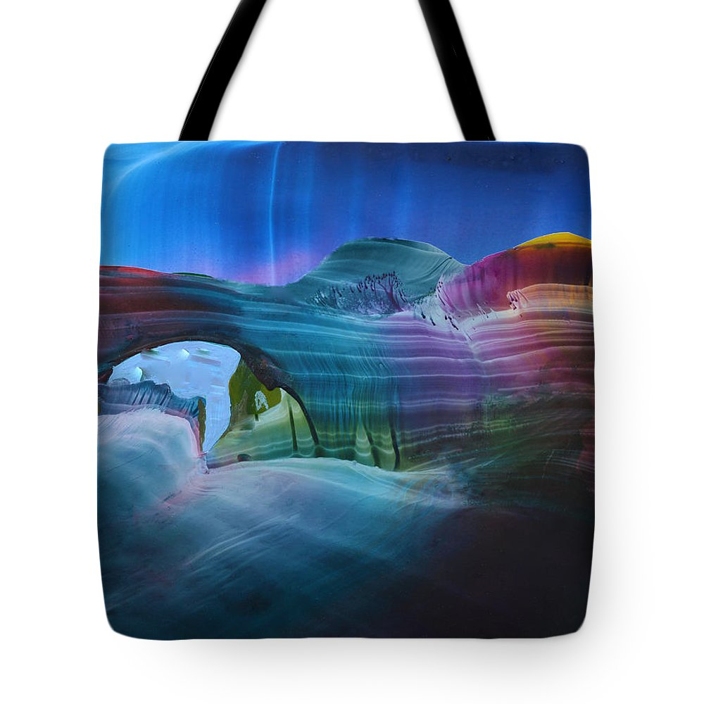 Abstract Canyon Scene. Tote Bag featuring the mixed media Fantasy Entrance by Maureen Thulin
