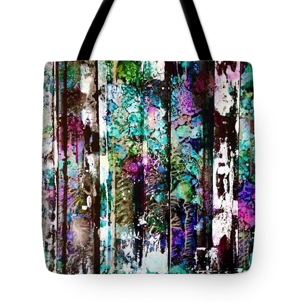 Abstract - Non- Objective - Nature - Forest - Fantasy - Bright Colors -foliage Tote Bag featuring the painting Fantasy Forest by Barbara March
