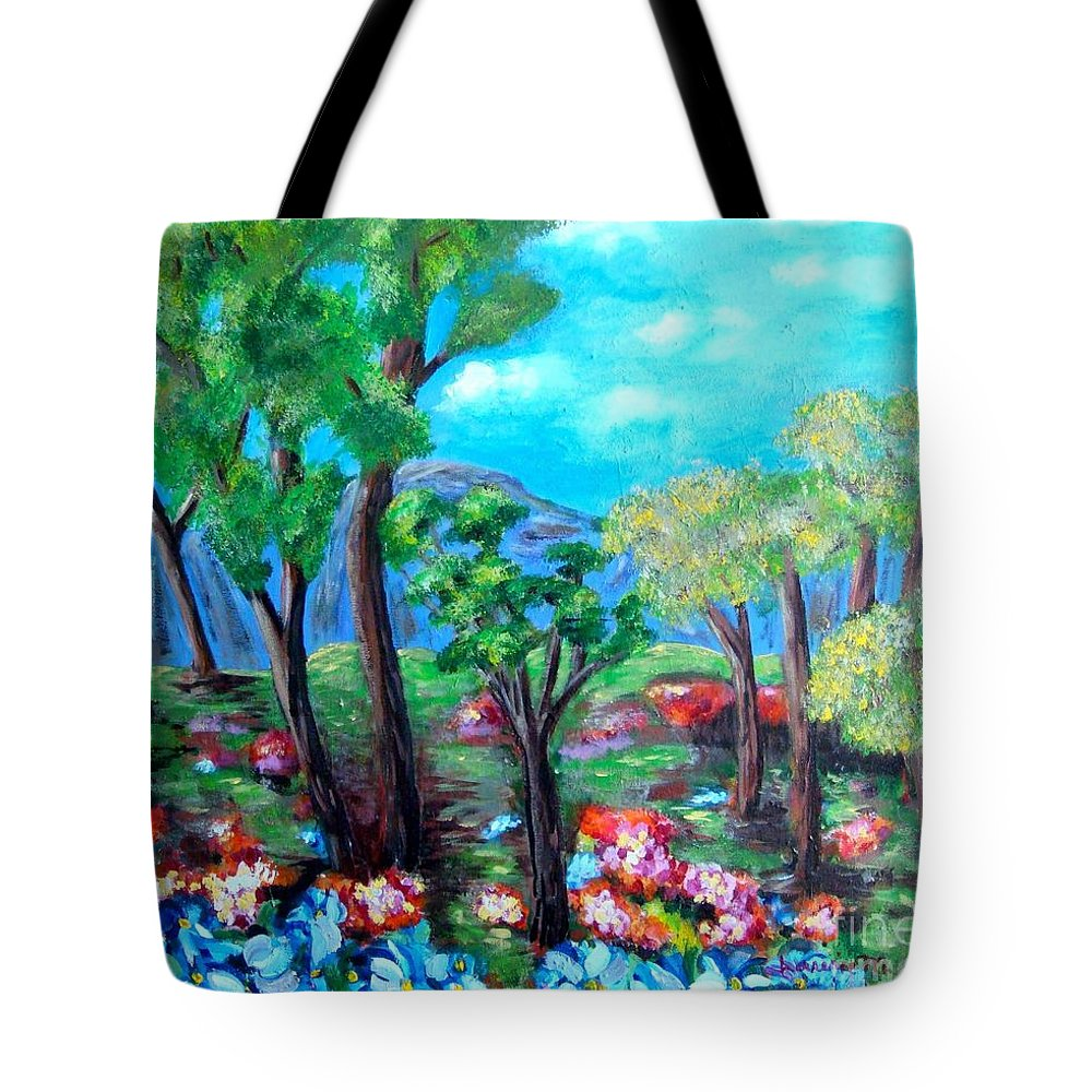 Fantasy Tote Bag featuring the painting Fantasy Forest by Laurie Morgan