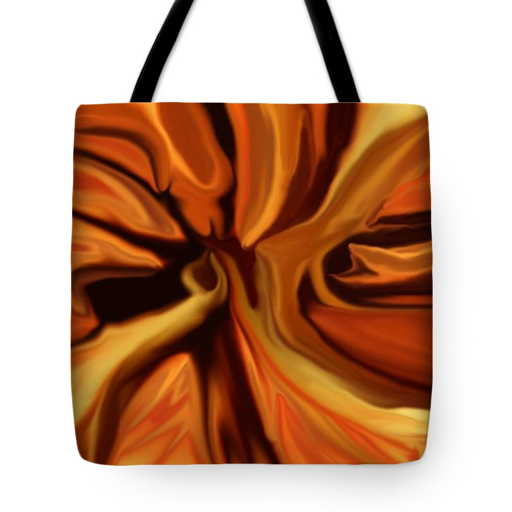 Abstract Tote Bag featuring the digital art Fantasy In Orange by David Lane