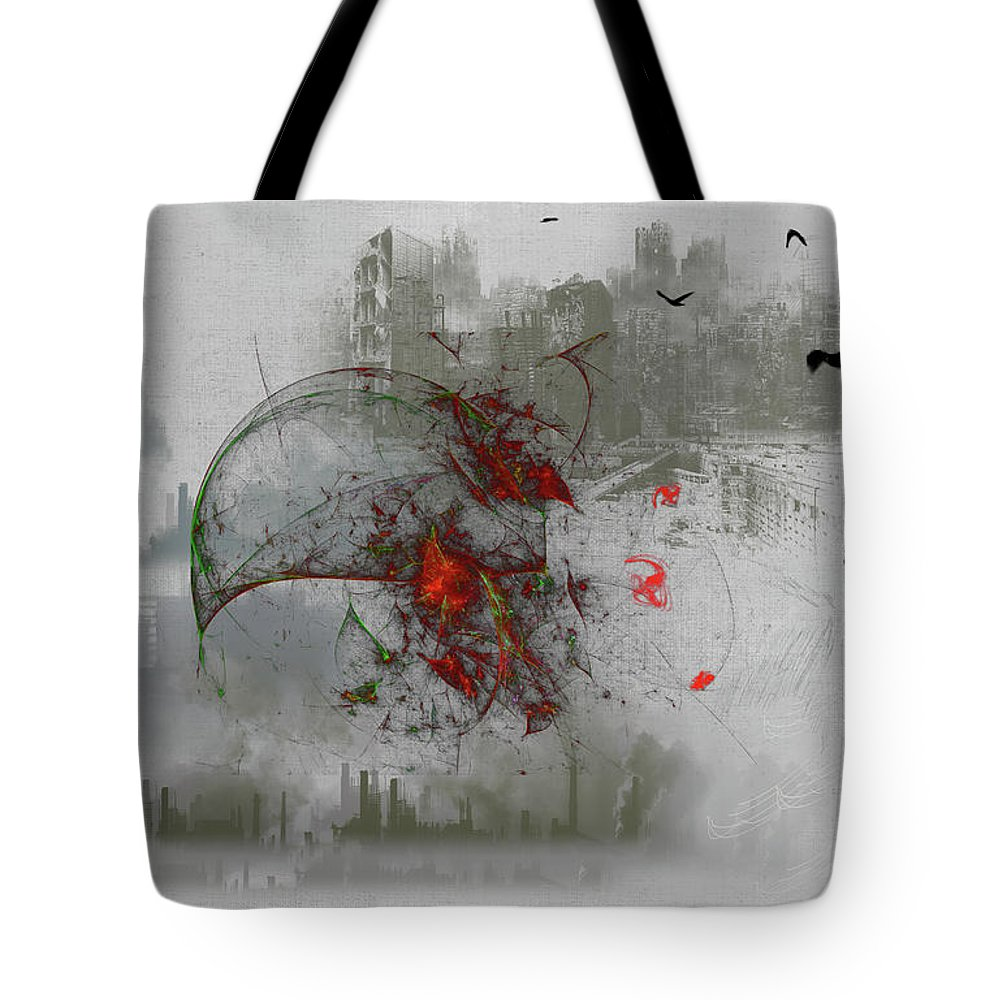 #fantasy#art#digital#war#wells#cosmos#ghost#world#colours# Tote Bag featuring the digital art fantasy on theme War the Worlds by Herbert Wells by Aleksandrs Drozdovs