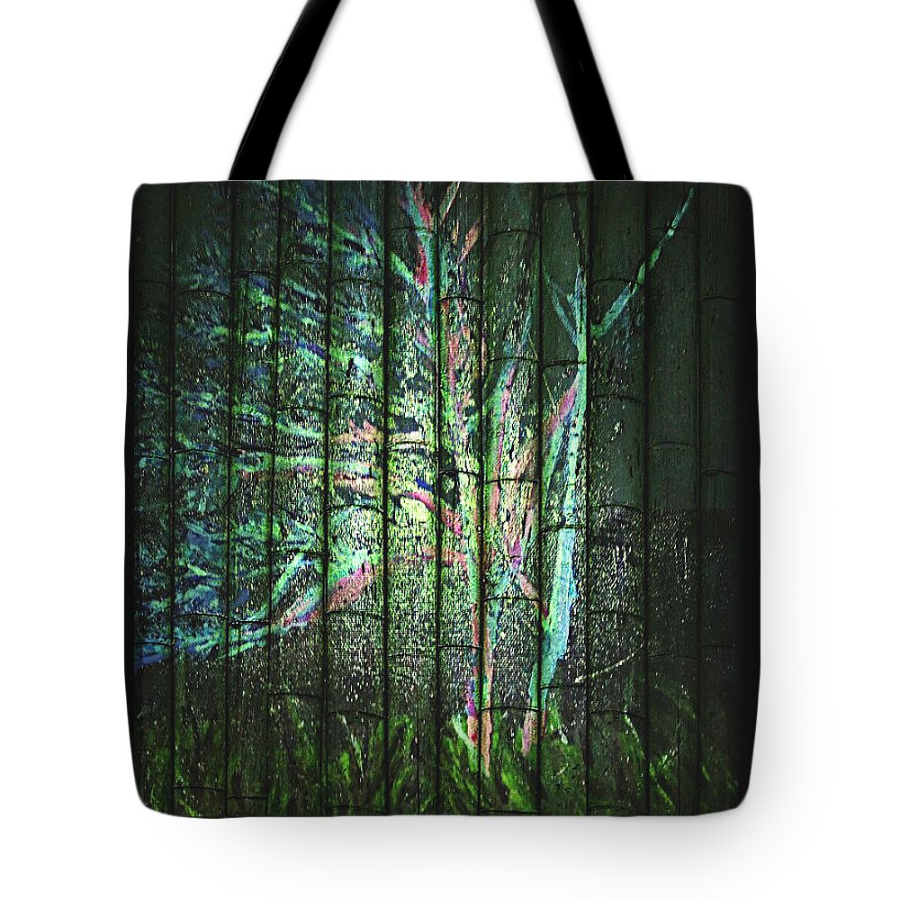 Night Time Treescape Tote Bag featuring the painting Fantasy Tree On Bamboo by Pamela Smale Williams