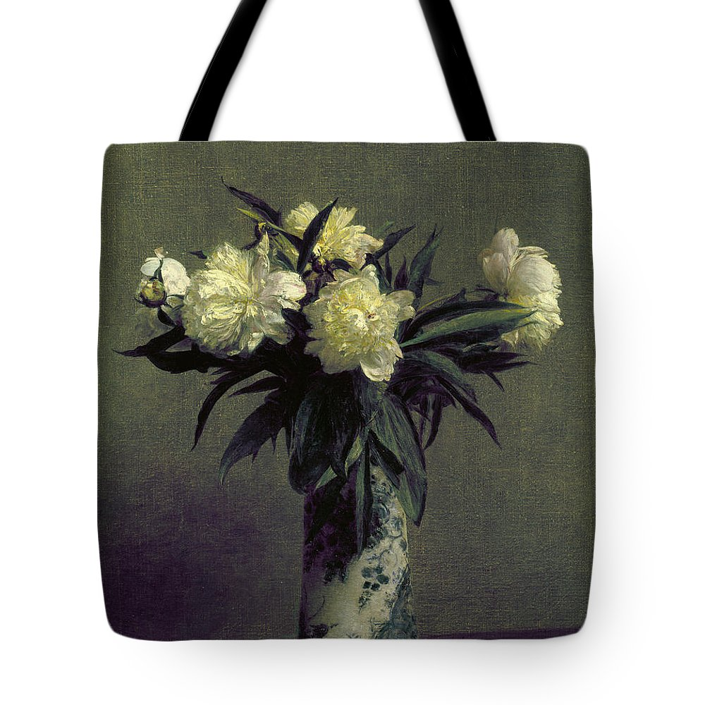 1872 Tote Bag featuring the photograph Fantin-latour: Peonies, 1872 by Granger