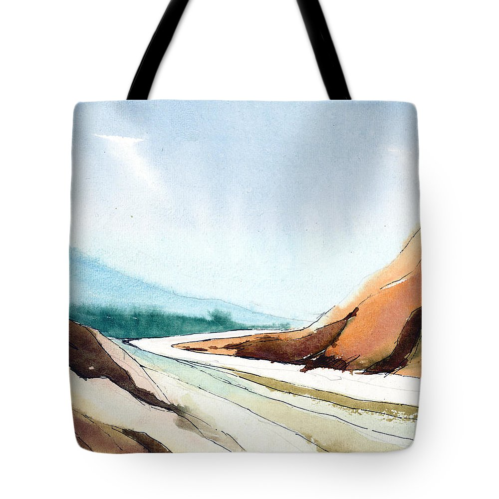 Landscape Tote Bag featuring the painting Far Away by Anil Nene