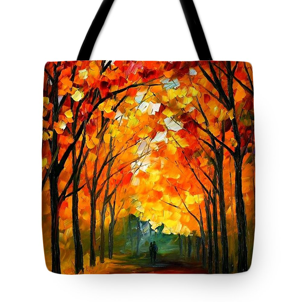 Afremov Tote Bag featuring the painting Farewell To Autumn by Leonid Afremov