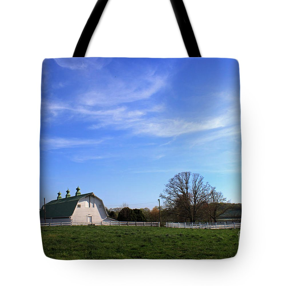 Landscape Tote Bag featuring the photograph Farm At Sunset by Todd Blanchard