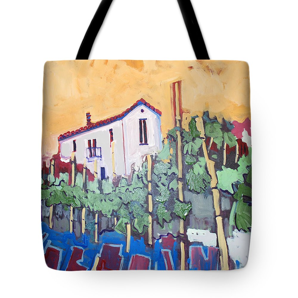 Farm House Tote Bag featuring the painting Farm House by Kurt Hausmann