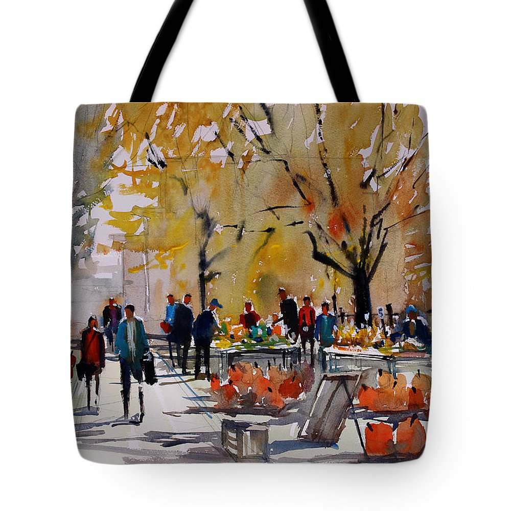Ryan Radke Tote Bag featuring the painting Farm Market - Menasha by Ryan Radke