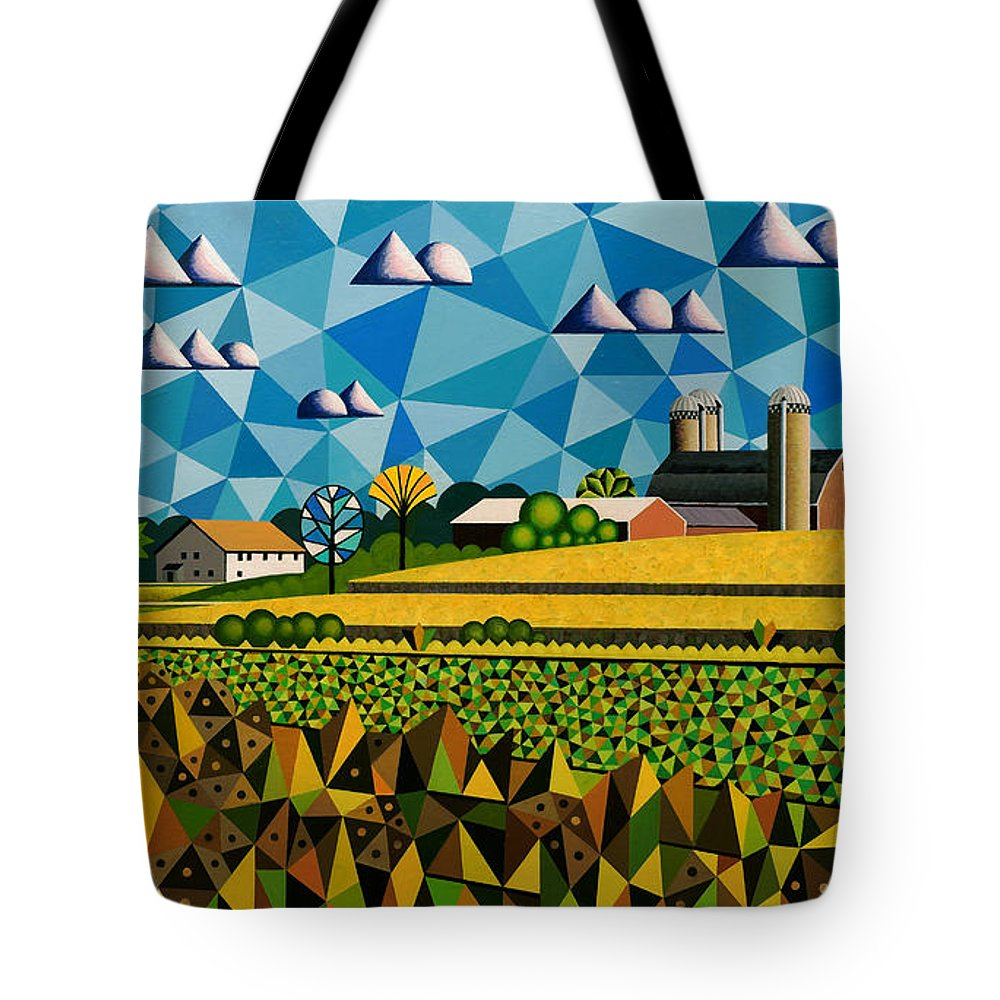 Bruce Bodden Tote Bag featuring the painting Farm On Hwy 28 Framed by Bruce Bodden