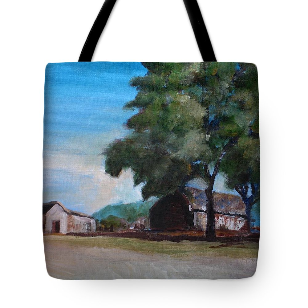 Farm Tote Bag featuring the painting Farm Shadows by Jun Jamosmos