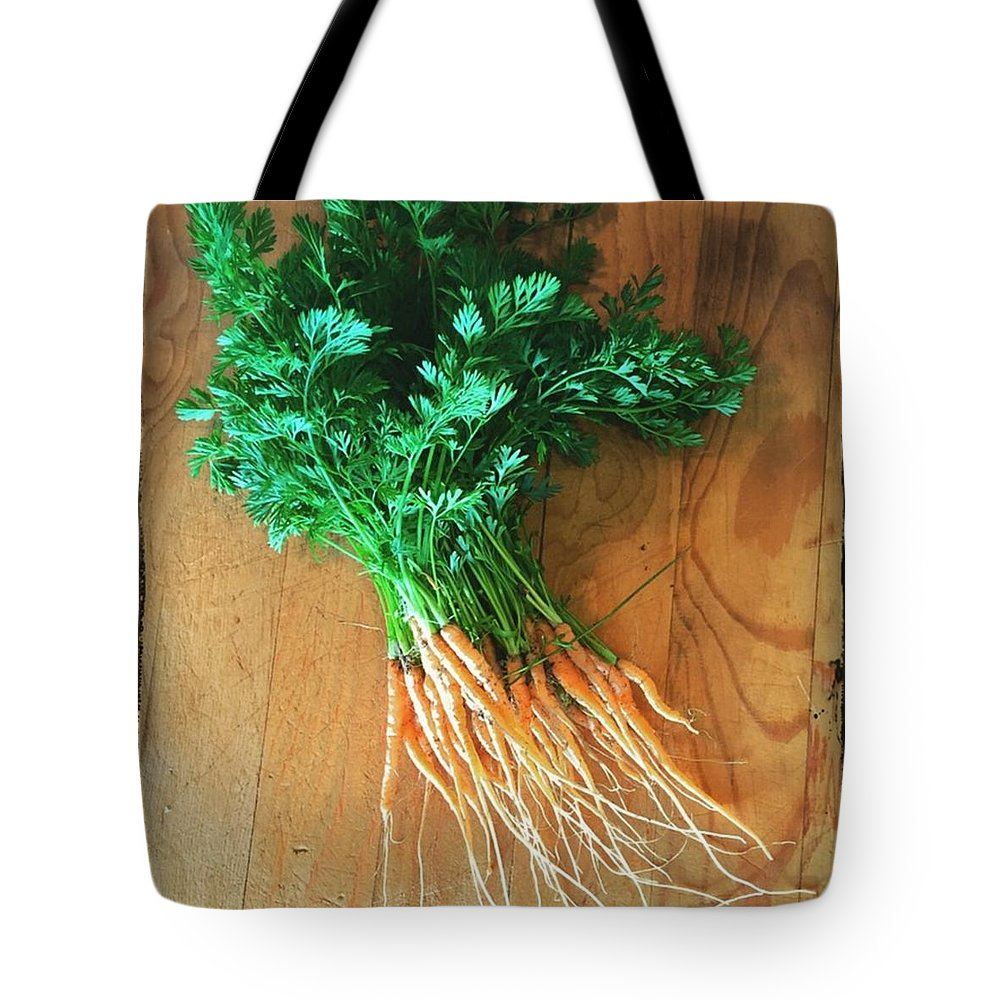 Carrots Tote Bag featuring the photograph Fresh Carrots by Nancy Ingersoll
