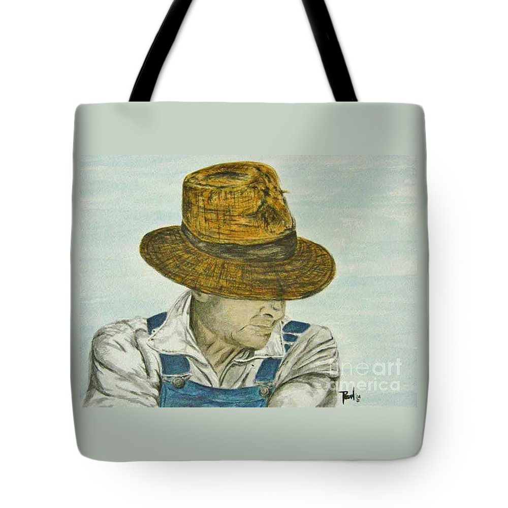 Portrait Tote Bag featuring the painting Farmer Ted by Regan J Smith