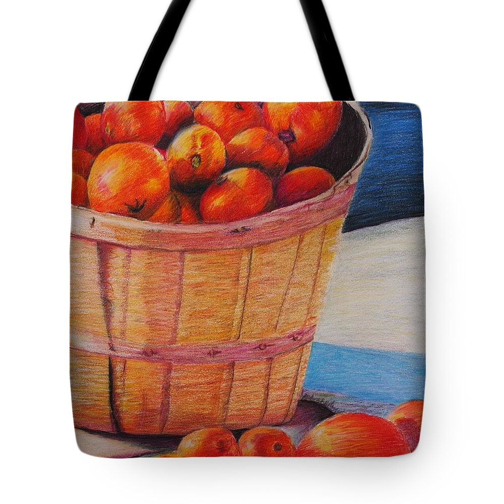 Produce In A Basket Tote Bag featuring the drawing Farmers Market Produce by Nadine Rippelmeyer
