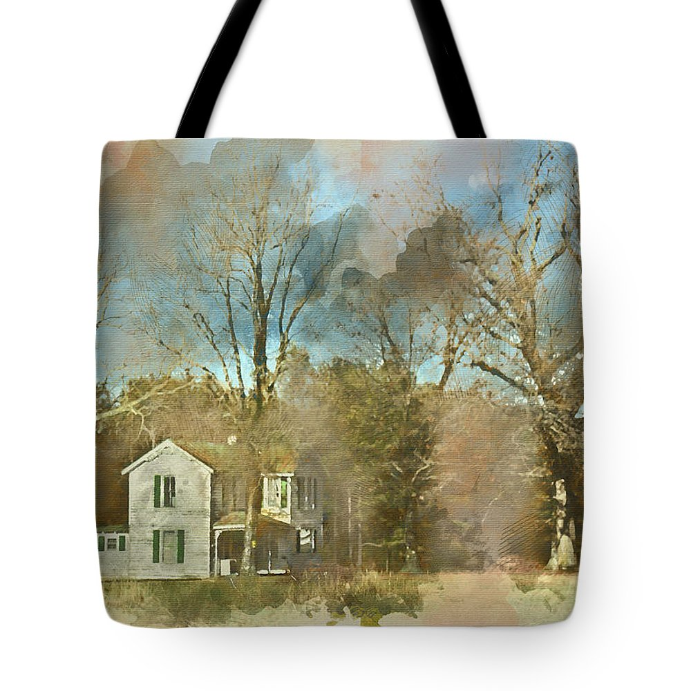 Wright Tote Bag featuring the digital art Farmhouse - Gordonsville Va by Paulette B Wright