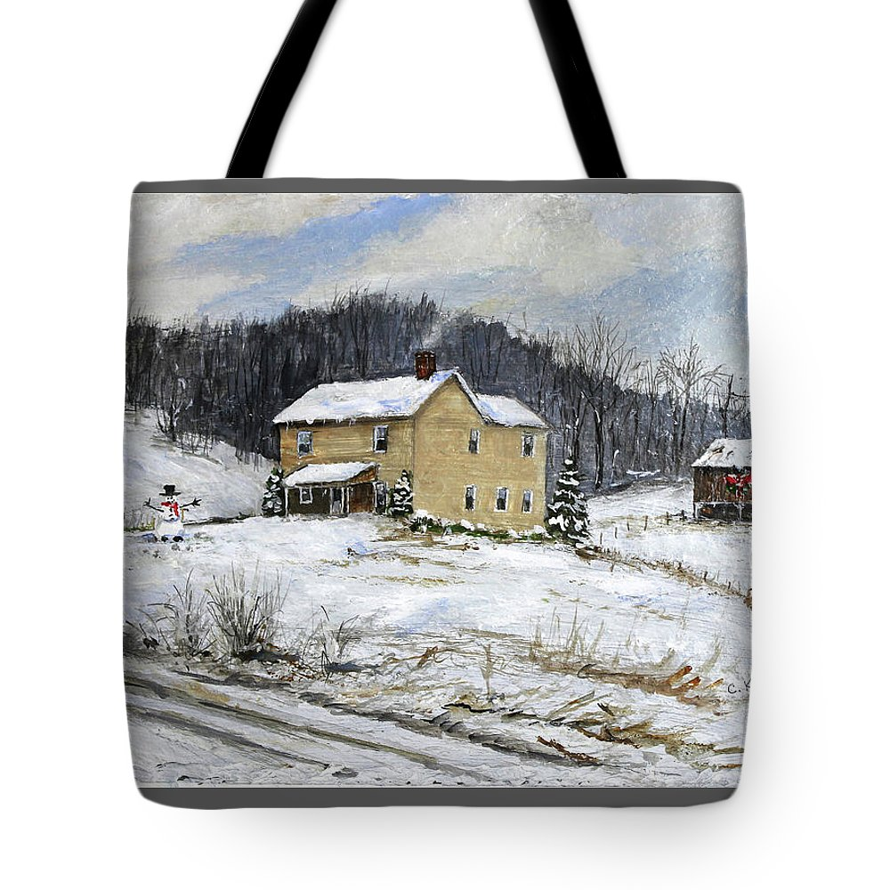 Snowman Tote Bag featuring the painting Farmhouse Snowman by C Keith Jones