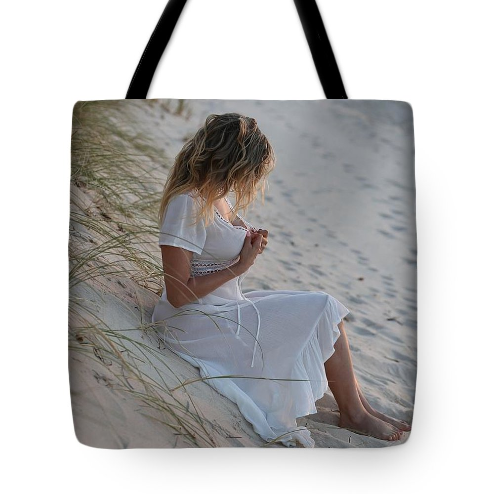 Beach Modelling Tote Bag featuring the pyrography Fashion by Ely Ermawati