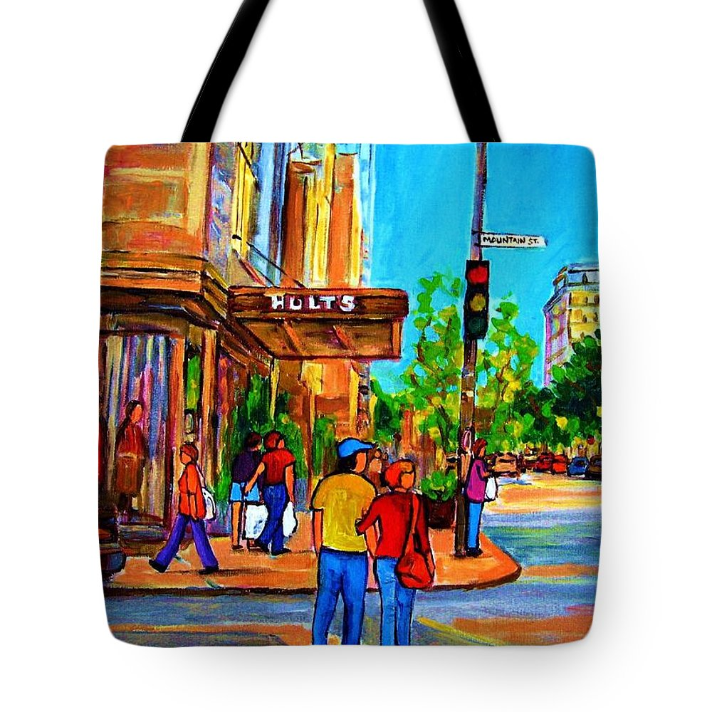 Holt Renfrew Tote Bag featuring the painting Fashionable Holt Renfrew by Carole Spandau