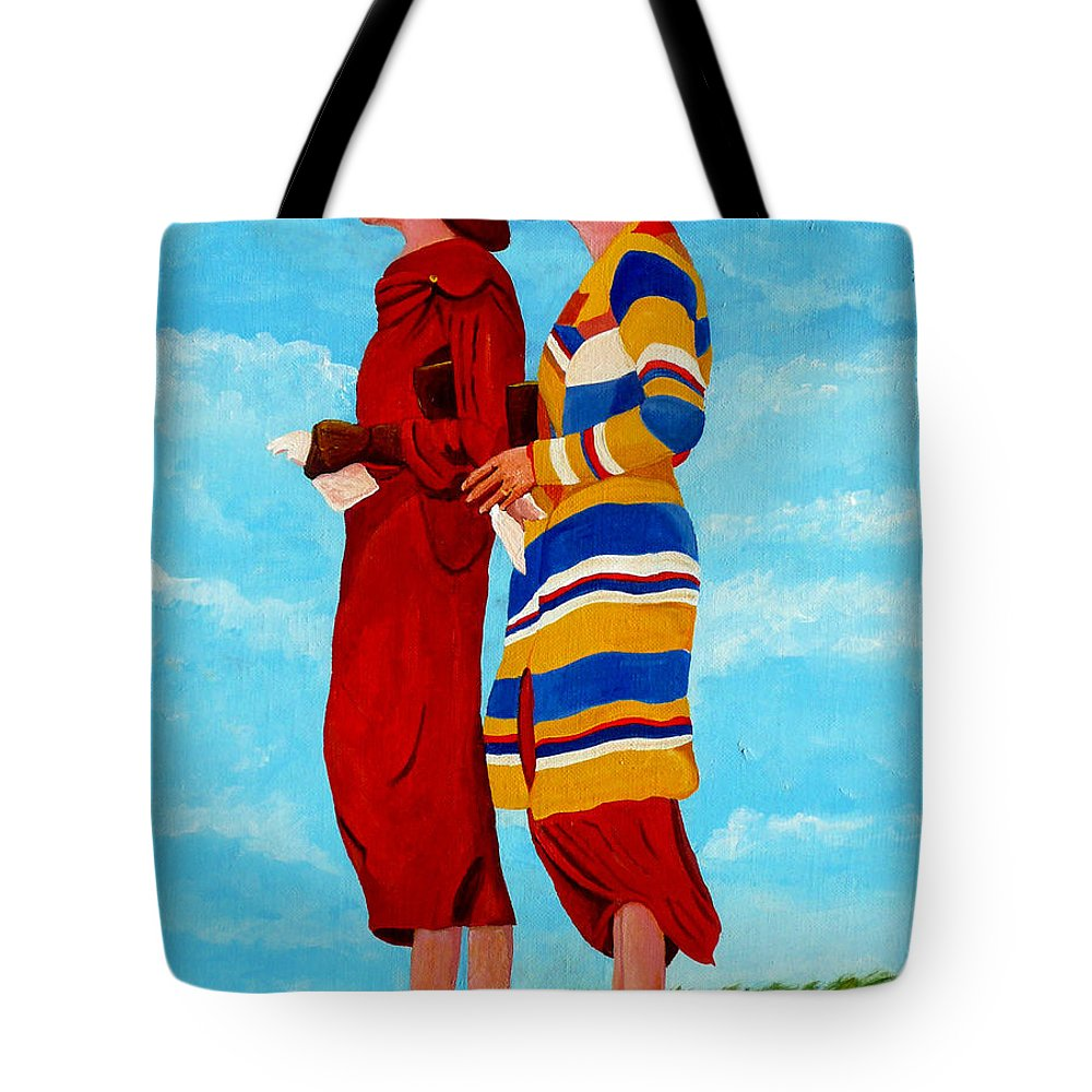 Ladies Tote Bag featuring the painting Fashionable Ladies by Anthony Dunphy