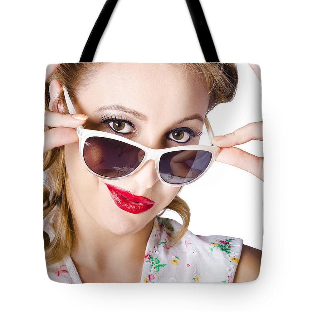 Beautiful Tote Bag featuring the photograph Fashionable Woman In Sun Shades by Jorgo Photography - Wall Art Gallery