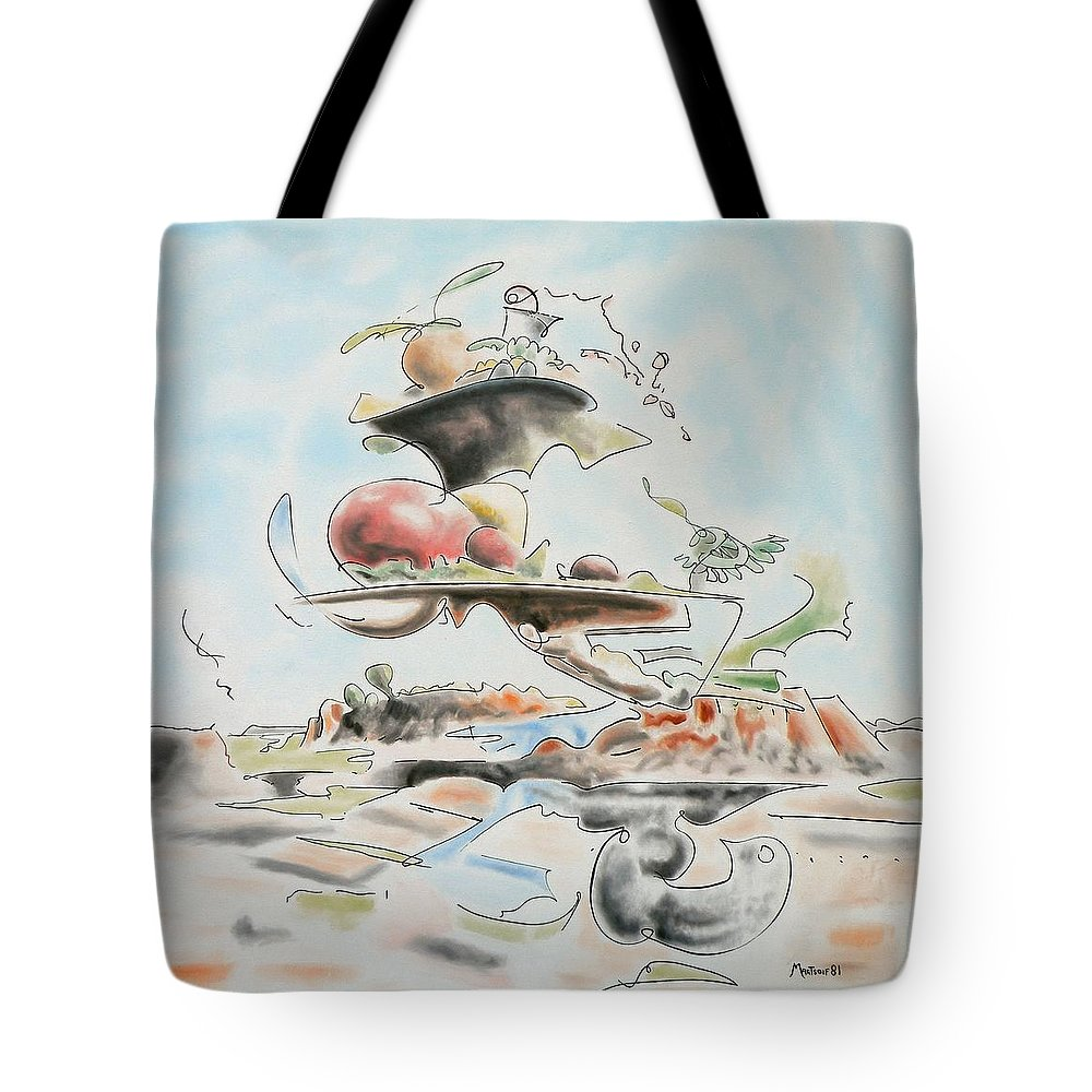 Abstract Tote Bag featuring the painting Fast Food by Dave Martsolf