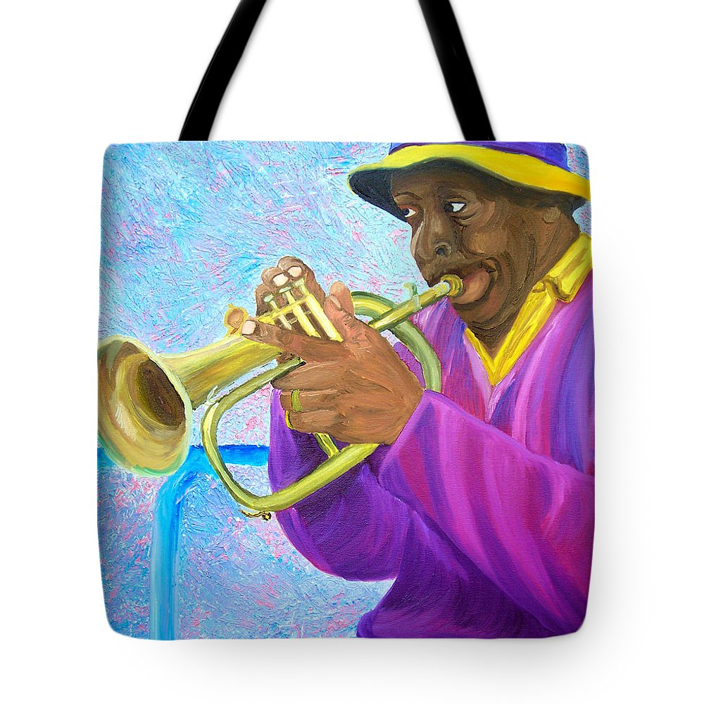 Street Musician Tote Bag featuring the painting Fat Albert Plays The Trumpet by Michael Lee