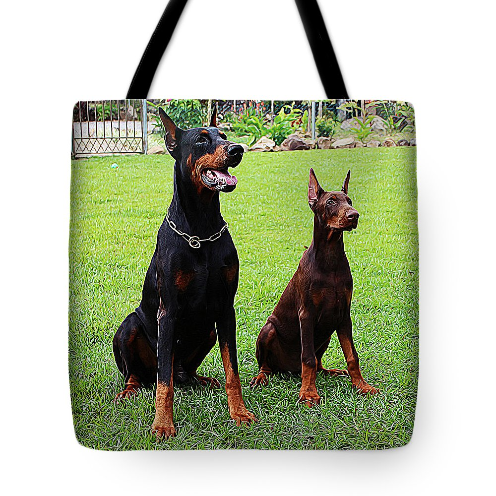 Trainer Tote Bag featuring the painting Father Amp Son Ultimo And Czar by Queso Espinosa