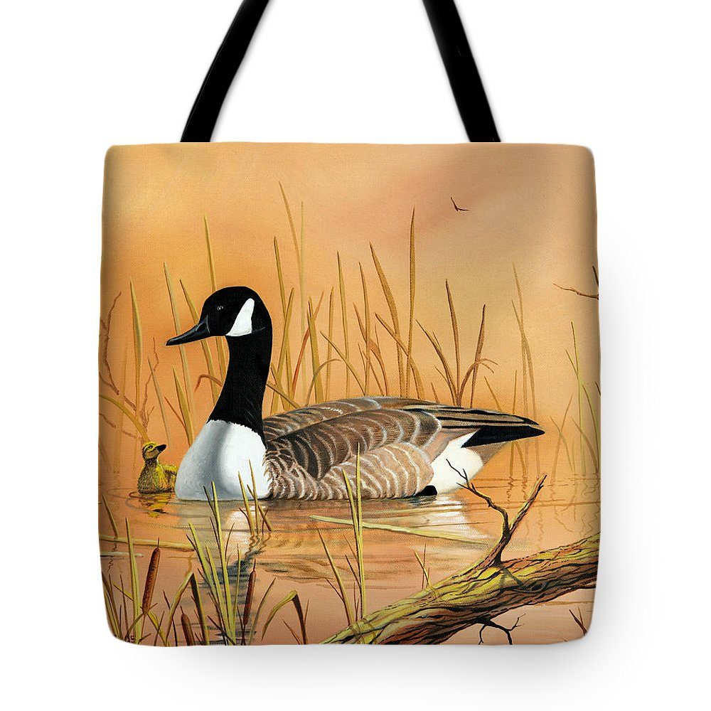 Duck Tote Bag featuring the painting Father And Son by Don Griffiths