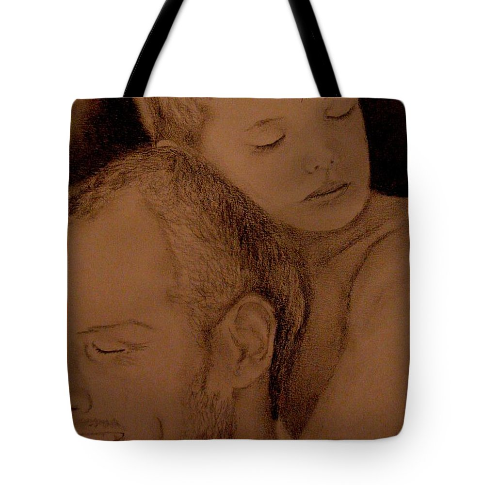 Portrait Tote Bag featuring the painting Father And Son by Glory Fraulein Wolfe