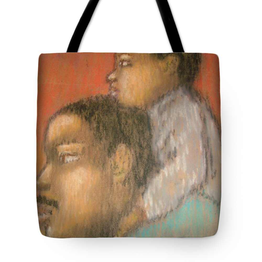 Tote Bag featuring the drawing Father And Son by Jan Gilmore