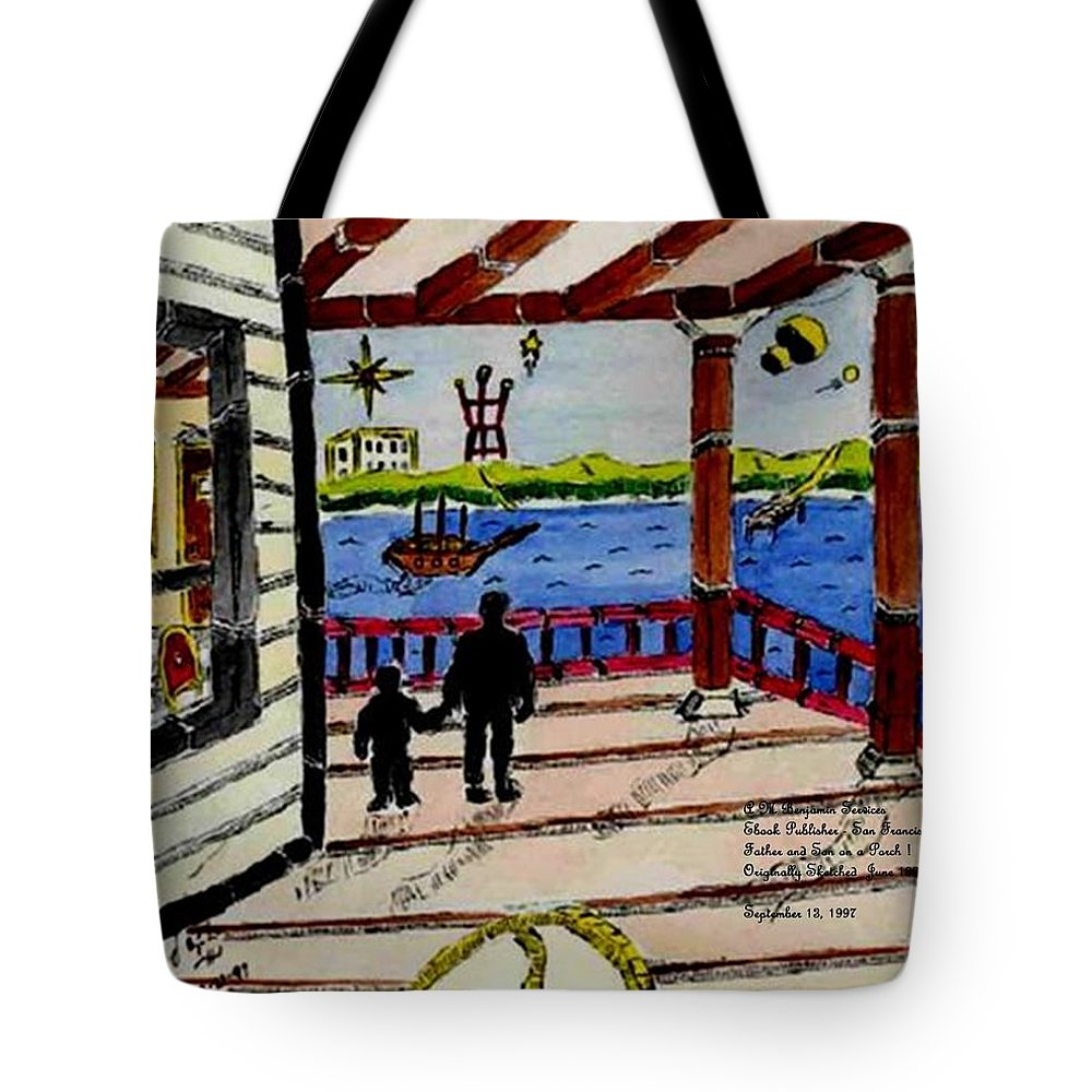 Boy Tote Bag featuring the painting Father And Son On The Porch by Anthony Benjamin