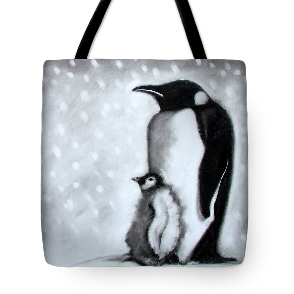 Penguin Tote Bag featuring the painting Father And Son by Paul Powis