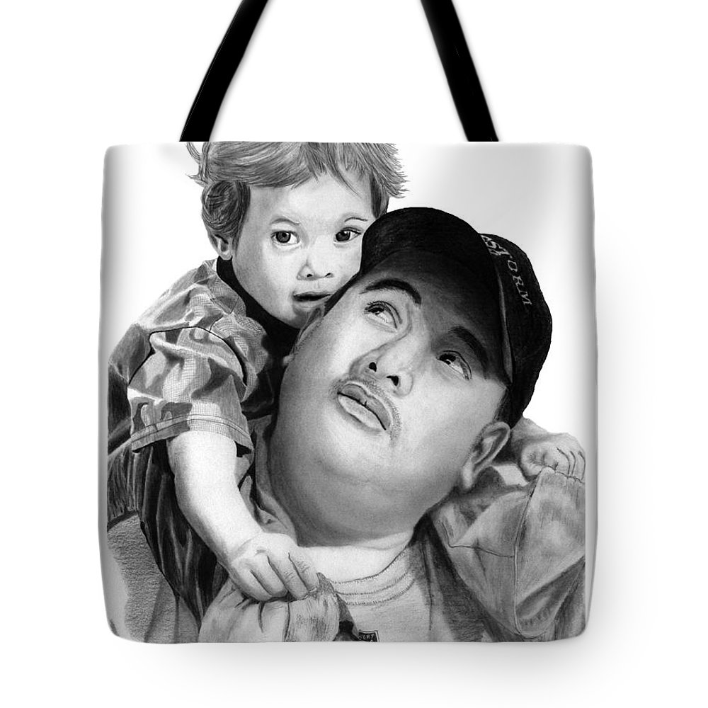 Father And Son Tote Bag featuring the drawing Father And Son by Peter Piatt