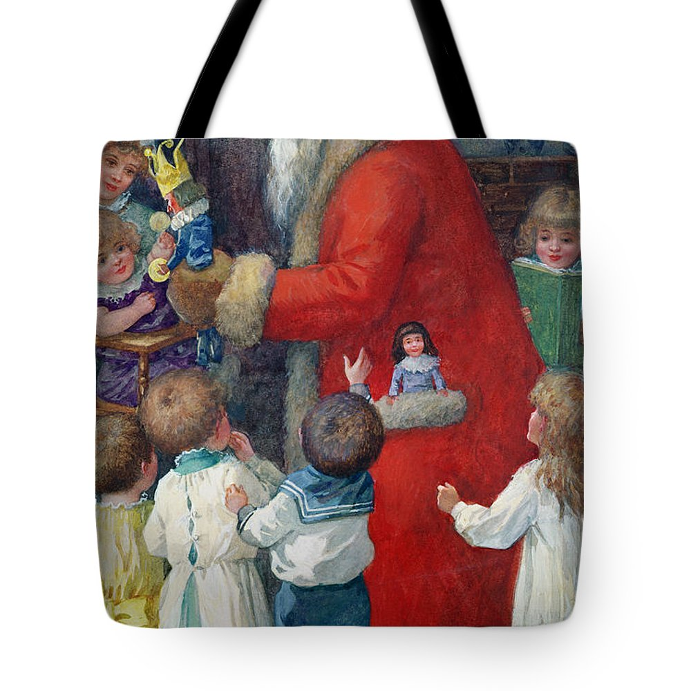 Father Christmas With Children By Karl Roger (b.1879) Tote Bag featuring the painting Father Christmas With Children by Karl Roger