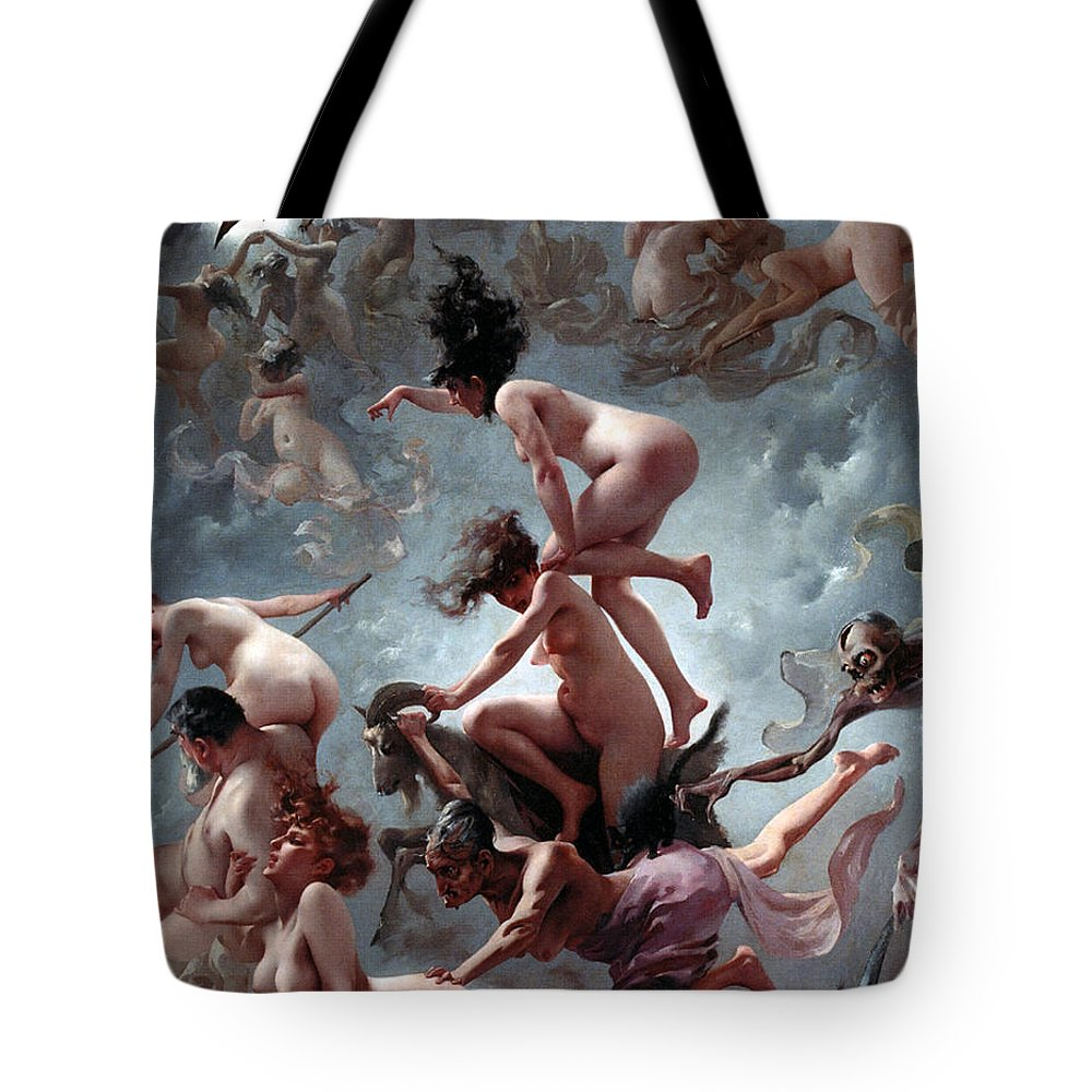 Naked Tote Bag featuring the painting Faust's Vision by Luis Riccardo Falero