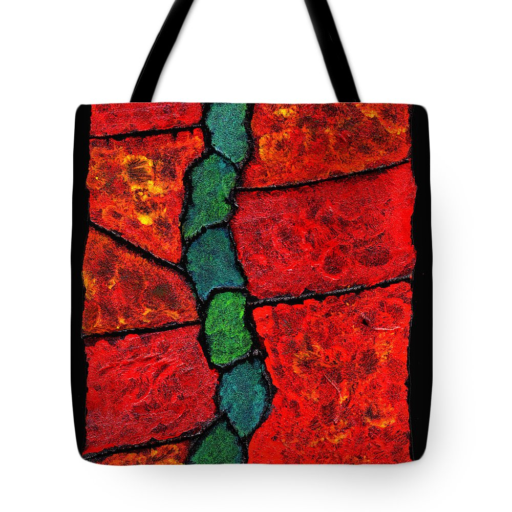 Abstract Tote Bag featuring the painting Faux Tile Painting One by Wayne Potrafka