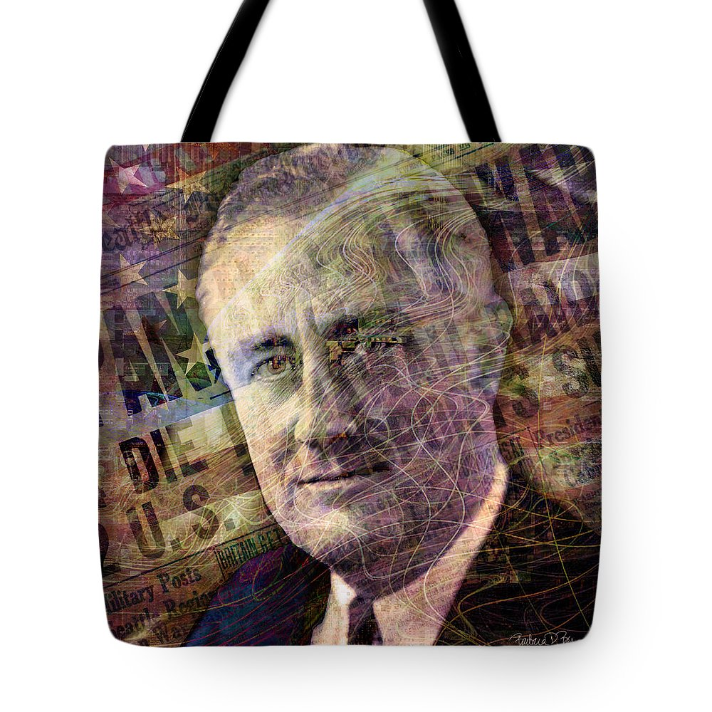 franklin Roosevelt Tote Bag featuring the digital art FDR by Barbara Berney