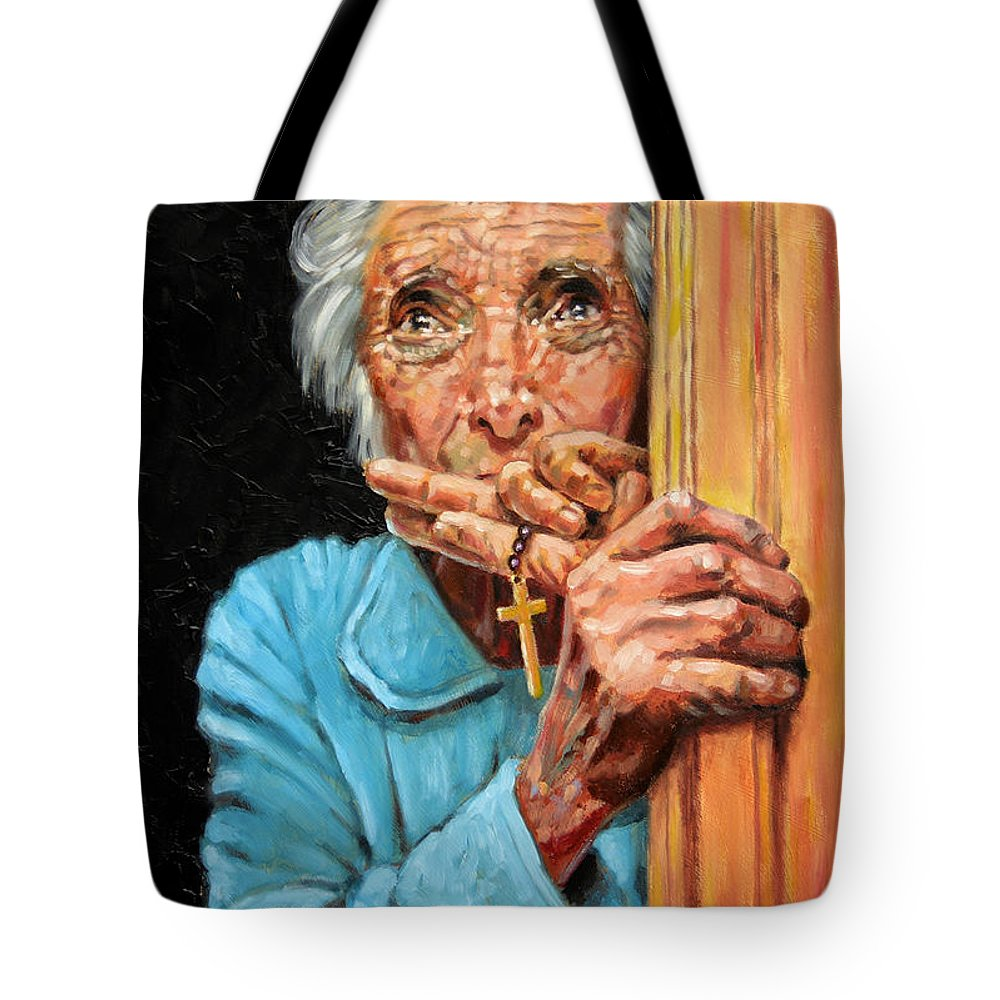 Old Woman Tote Bag featuring the painting Fear And Faith by John Lautermilch