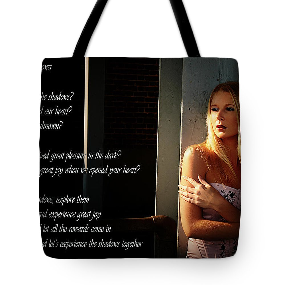 Clay Tote Bag featuring the photograph Fear Of Shadows by Clayton Bruster