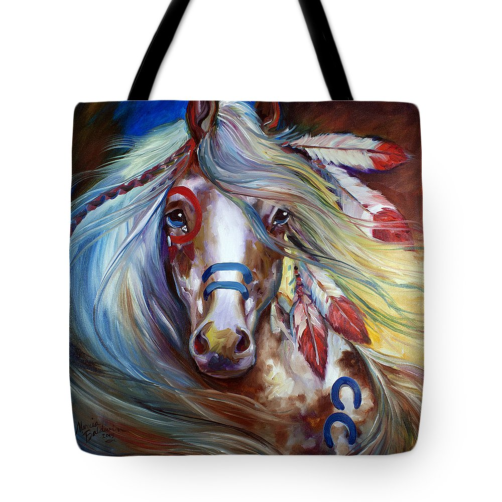 Horse Tote Bag featuring the painting Fearless Indian War Horse by Marcia Baldwin