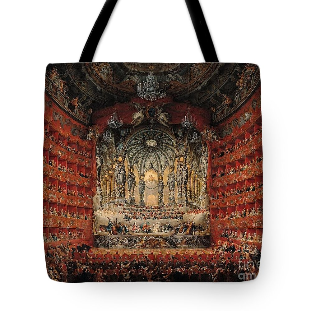 Giovanni Paolo Panini Musical Tote Bag featuring the painting Feast Given By Cardinal De La Rochefoucauld by MotionAge Designs