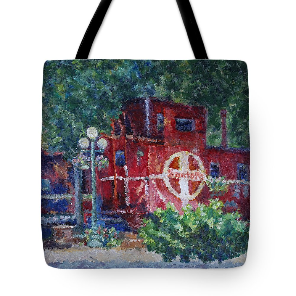 100 Views Of Mount Konocti Tote Bag featuring the painting Featherbed Railroad Caboose by Joe Geare