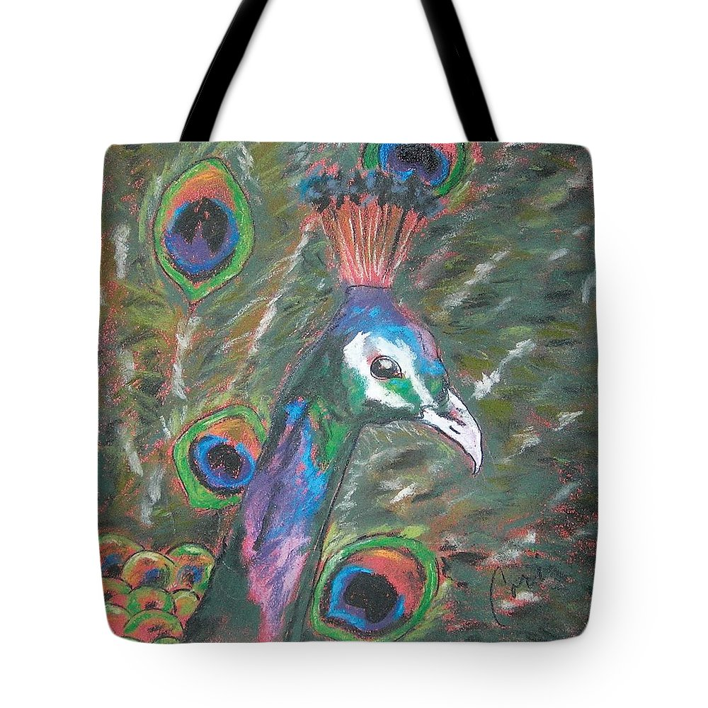 Peacock Tote Bag featuring the drawing Feathered Splendor by Cori Solomon