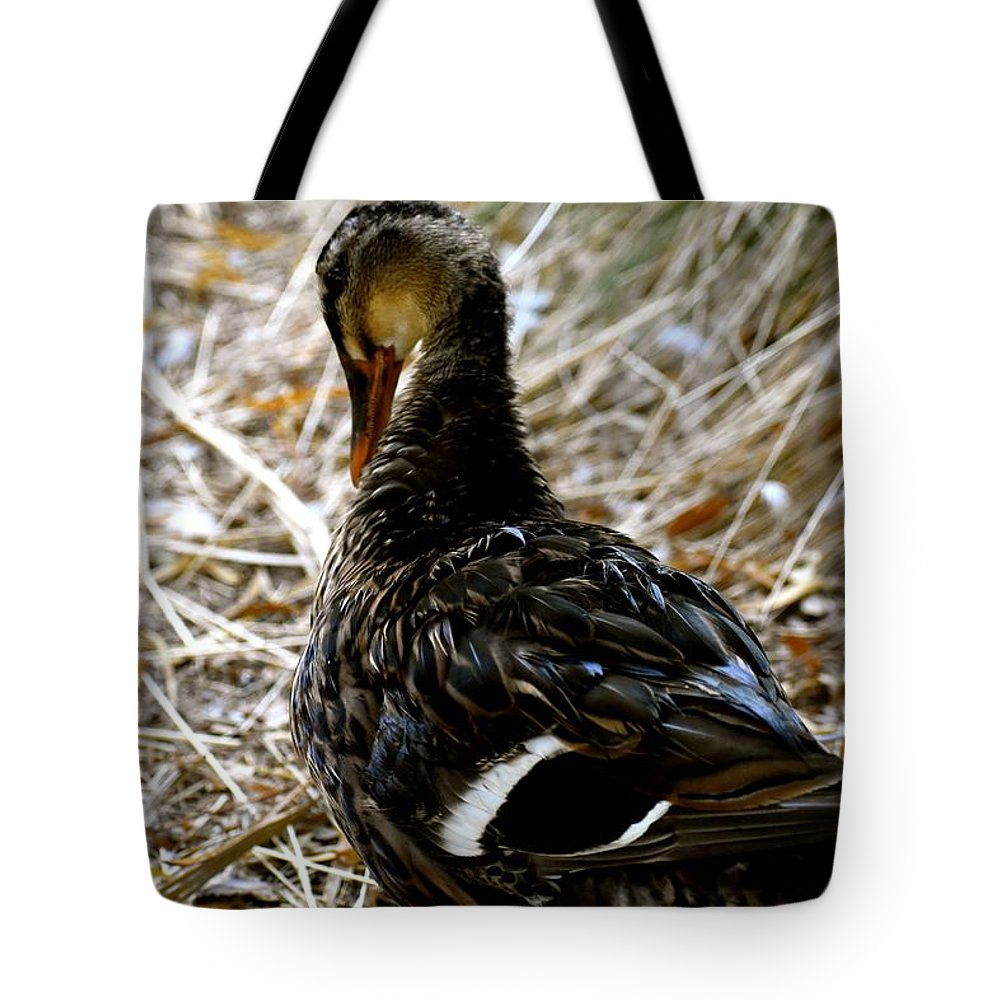 Duck Tote Bag featuring the photograph Feathers 2 by Melisa Elliott