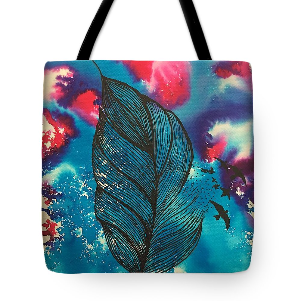 Lotus Tote Bag featuring the painting Feathers And Birds by Sonal Kanakdande