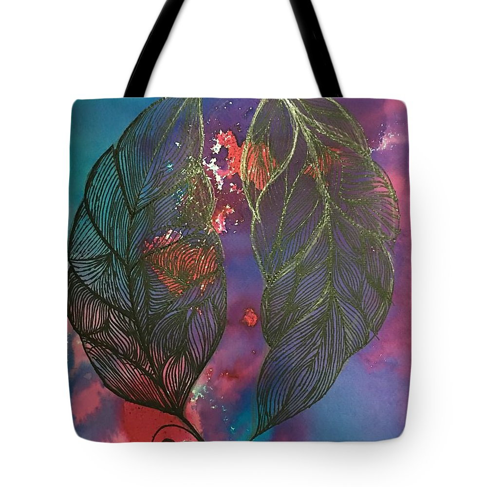Lotus Tote Bag featuring the painting Feathers by Sonal Kanakdande