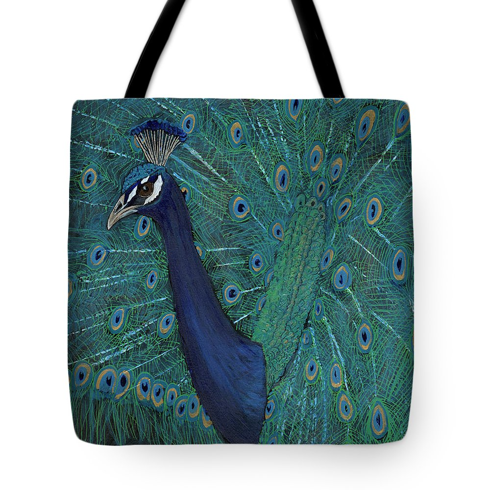Peacock Blue Green Turquoise Tote Bag featuring the painting Feathery Fan by Koni Webb Bosch