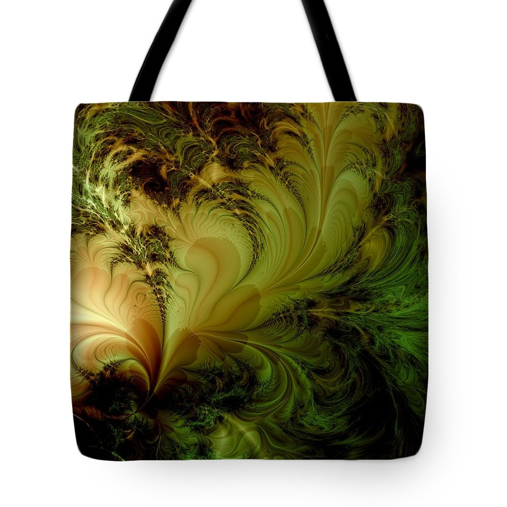 Feather Tote Bag featuring the digital art Feathery Fantasy by Casey Kotas