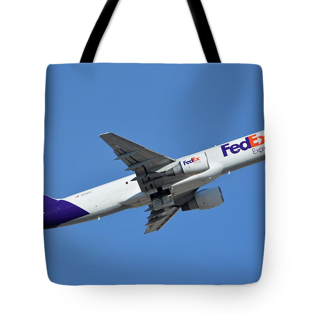 Airplane Tote Bag featuring the photograph Fedex Express Boeing 757-230 N998fd Phoenix Sky Harbor January 19 2016 by Brian Lockett