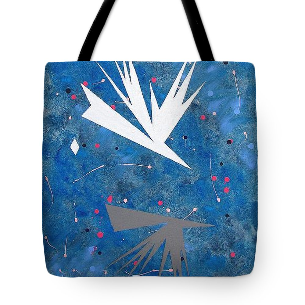 Birds And Diamond Stars Tote Bag featuring the painting Feeding Frenzy by J R Seymour